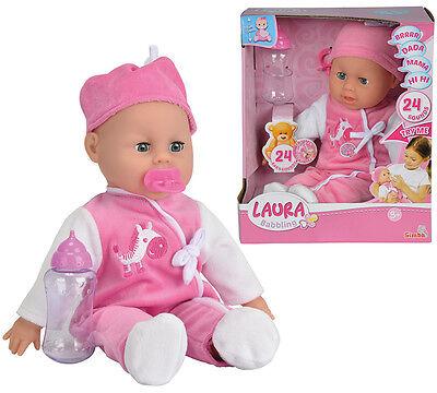 Simba Weichkörperpuppe Laura Babysprache 38 cm (Pink-Weiß)
