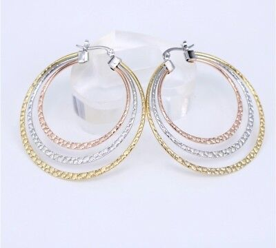 (Luxury silver stainless steel  multi gold tone 3 ring 2 inch hoop earrings)