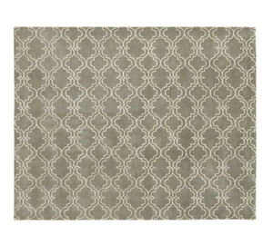 Pottery Barn Scroll Tile Rug - 8x10 - Grey/Ivory