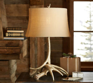Faux Antler table lamps w/matching shades -Pottery Barn $200/pr