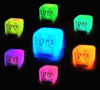 Würfelwecker LED Wecker Chamäleon7 Farben Led +Thermometer Alarmwecker Neu #149