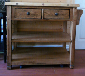 Sedona Butcher Block Oak Kitchen Island Cart