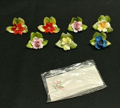 royal adderley floral bone china set of 7 placecard holders & name tags