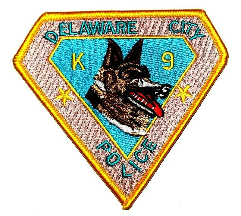 "DELAWARE CITY – K-9 - DELAWARE DE Sheriff Police Patch CANINE DOG SHEPHERD 3.5"""