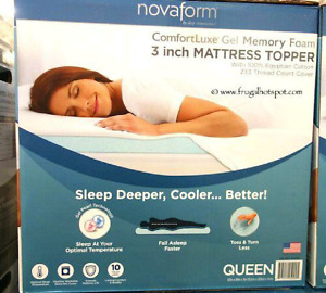 NEVER USED  Novaform ComfortLuxe Gel Memory Foam Mattress Topper