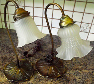 "TWO- Vintage Goose neck ""Lilypad "" lamps"