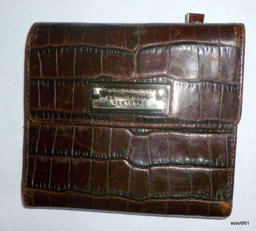 Vintage Donna Karan New York Brown Alligator Wallet With Clasp