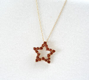 .80 Ct. Garnet 'Star'  10k Gold Necklace