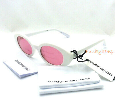 NWT Authentic Elizabeth and James Mckinley Retro Oval White Pink (Mckinley Sunglasses)