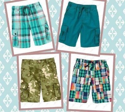 GYMBOREE Boys Kids Patchwork Plaid Cargo Shorts Camo SIZES  5  6  7  8 NWT!