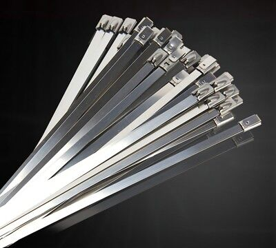 3-100pcs 304 Stainless Steel Grade Metal Self Locking Cable Ties Zip Wraps Lot