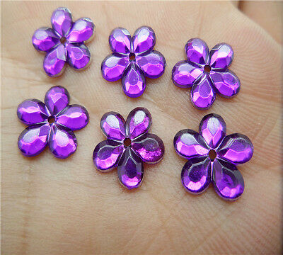NEW 50pcs 12MM Resin Flower Perforate flatback Appliques For phone/wedding/ KE11
