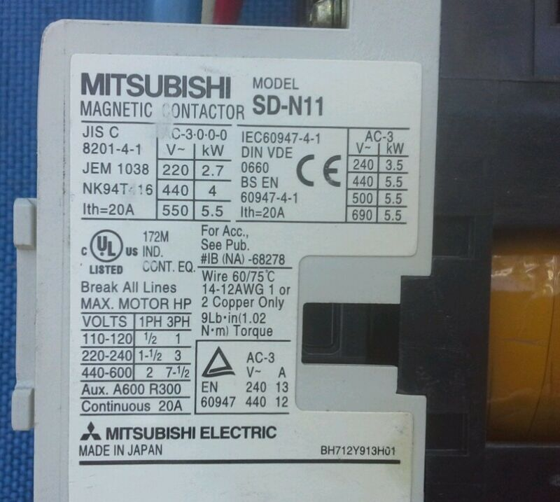 Mitsubishi SD-N11 Magnetic Contactor 24V DC Coil (Qty. Available) BH712Y913H01