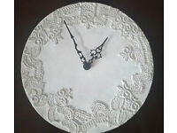 wall white lace effect Clock Shabby Chic Vintage style