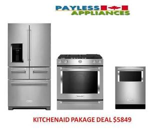 Kitchenaid Package Deal KitchenAid KRMF606ESS  Refrigerator,KitchenAid YKSDB900ESS Dual Fuel Range,KitchenAid KDTM384ESS