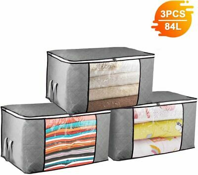 3PCS Underbed Clothes Storage Bags Ziped Organizer Boxes for Pillows Bedding Toy