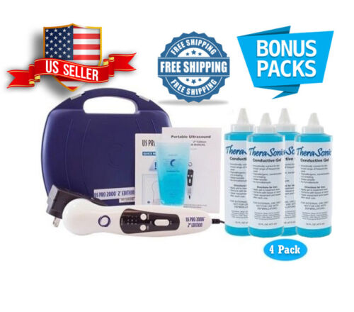 US Pro 2000 Pro Ultrasound Portable Therapy Unit Comes with 4 bottles 16oz gel
