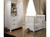new Obaby Lincoln 2 Piece sleigh Mini Cot Bed,& Wardrobe mattress included