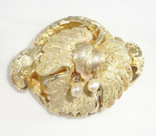 Antique 14K 14KT Yellow Gold Pendant Brooch Leaves Pearls 8.8 Grams
