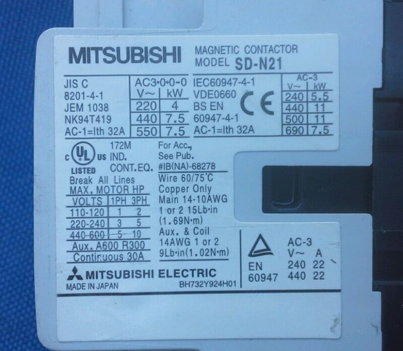 Mitsubishi SD-N21 Magnetic Contactor (Quantity Available) BH732Y924H01