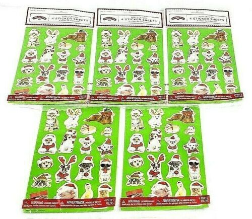 Holiday Time Christmas Animal Themed Sticker Sheets Lot Of 5, 20 Sheets Total