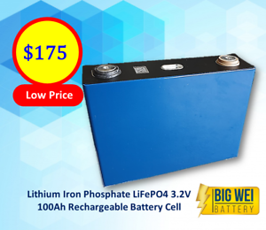Lithium Iron Phosphate LiFePo4 3.2v 100Ah Rechargeable Battery Cell Slacks Creek Logan Area Preview