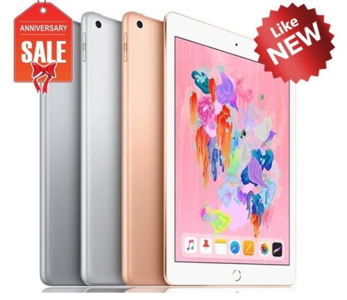 "Apple iPad 6th 9.7"" 2018 Wifi + Cellular Unlocked, Gray Silver Gold - 32GB 128GB"
