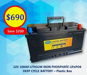 BWB Lithium Iron LiFePO4 Deep Cycle Battery 12V 100AH Regular Plastic Slacks Creek Logan Area Preview