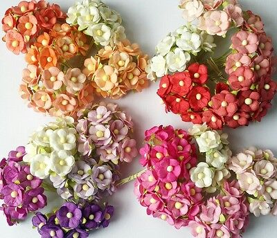 50 pcs Mix Color Double Layer Mulberry paper Flower Scrapbooking Crafts 1.5cm (Paper Flower Crafts)