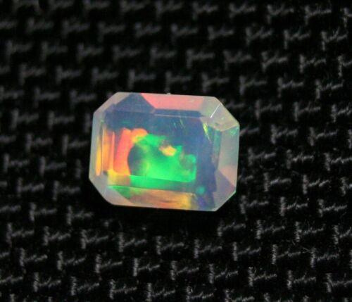 Faceted Welo Opal 0.88ct Rainbow Emerald Cut Crystal Ethiopian Opal Video 7x6mm