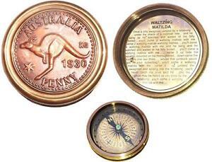 Brass Magnetic Compass Waltzing Matilda Penny 1930 Australian Memorabilia Gift