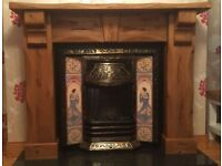 Brass Cast Iron Fireplace and Wood Surround with Electric Fire