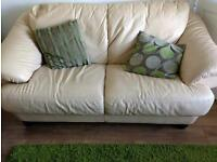 Cream real leather 2 and 3 seat sofa