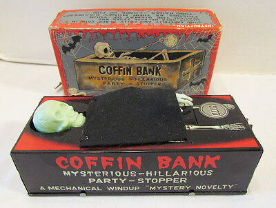 COFFIN BANK 1960's YONE JAPAN TIN WIND-UP MONSTER SKELETON TOY~WORKS W/ BOX  on Rummage