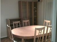 Dining room furniture including table, chairs, cabinets, sideboard and units
