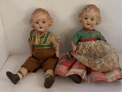 Pair Of Vintage Dolls Boy And Girl 1950s