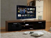 BRAND NEW MODERN BLACK AND WALNUT LARGE 2M TV STAND CABINET UNIT WITH HIGH GLOSS DOORS