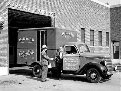 GOLDEN AGE BEER BOX TRUCK PHOTO VINTAGE RARE 1938 CERVEZA LIQUOR PHOTOGRAPH