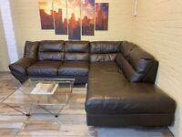 Comfy Brown Leather Corner Sofa