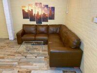 Sumptuous Brown Leather Corner Sofa