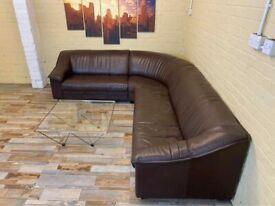 Long Comfy Brown Leather Corner Sofa
