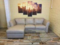 Pristine Sofitalia Taupe Leather Corner Sofa (ME)