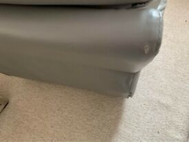 Grey Leather Reclining Chair with usb socket. Back rest comes off for easy transport