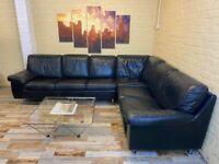 Deep Black Large Leather Corner Sofa (KT)
