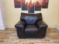 Deep Comfy Brown Leather Armchair