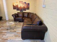 LARGE Family Brown Leather Corner Sofa