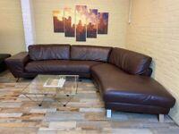Natuzzi Curved Brown Leather Corner Sofa