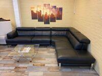 Big Luxurious Black Leather Corner Sofa