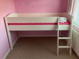 Mi Zone (Stompa) Mid Sleeper Bed Frame with White Headboards and Mattress