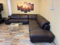 Family Large Brown Leather Corner Sofa